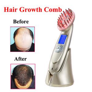 جديد 4 في 1 lcd قابلة للشحن الكهربائية الليزر نمو الشعر مشط تنمو فرشاة الشعر فروة الرأس مدلك مكافحة فقدان الشعر آلة الرعاية الصحية