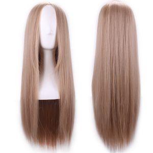 WoodFestival Carve perruques de cheveux longs raides femmes blondes perruque cheveux synthétiques aucun lace wig style naturel