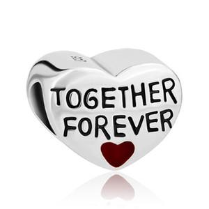Vente en gros Rhodiage Métal Coeur Ensemble Forever Love Beads Charms Bracelet à breloques pour Pandora