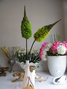 [] Barato promocional neve decoração simulação flores artificiais flores bromeliad bromeliad verde amarelado