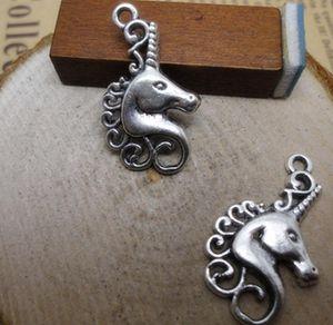 Ücretsiz Kargo 80 adet 15x26mm Antik Bronz Gümüş Güzel Unicorn At Charms Kolye