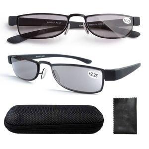 Wholesale-R11007 Paslanmaz Çelik Çerçeve Gri Renkli Lens Plastik Tapınak Okuma Gözlükleri w / durum +1.0,1.25,1.5,1.75,2.0,2,25