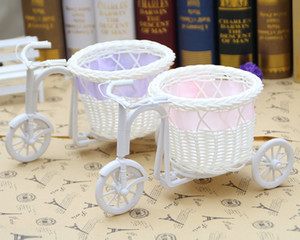 New Arrive Christmas Decorations White Tricycle Bike Design Flower Basket Storage Container Party Wedding free shipping