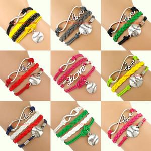 Wholesale-(10 Pieces/Lot) Infinity Love Baseball Bracelet Softball Bracelet Silver Tone Grey Yellow Green Pink Red Black - Customizable