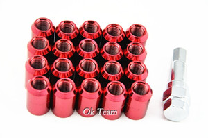 Envío gratis 20 Unids 12x1.5 mm Coche Auto Racing Rueda Tuercas Tuerca Nut Kit Juegos Tornillo de Aleación Rojo / Azul / Plata Nueva Rueda Perno