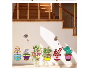 New Flowerpot Wall Art Decal Sticker PVC rimovibile Fresh Planter Decorazione della casa Wallpaper Murale Decor Api Volare intorno fiori Decal