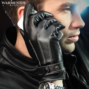 Al por mayor-100% cuero genuino pantalla táctil guantes de invierno para hombre para hombre motocicleta ciclismo guantes de piel de oveja Chirstmas regalo