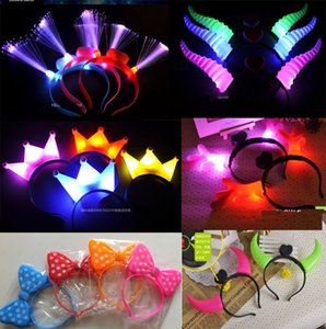 LED Flash Light Emitting Hairpin Bow Bands Horn Flash LED Clip di capelli Corno incandescente, fibra luminescente Flash Hairpin Headband Halloween