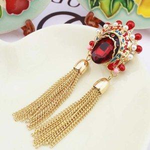 Originale versione coreana dei gioielli del retro stile cinese maglione catena di cristallo opera maschera di pechino Huaxiong spilla collana