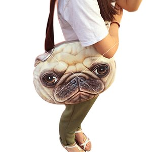 Wholesale-Original Retro Cartoon Animals Bags Dog Head Personalized Tote Bag Women's Fashion Handbag 3D Printed Cat Head Shoulder Bag