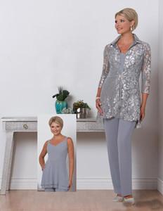 2019 Gümüş Şifon Anne Gelin Pantolon Ile Suits Dantel Ceket Artı Boyutu Akşam elbise Anne Düğün Konuk Elbise