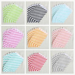 Venta al por mayor - Envío gratuito (50 piezas / lote) 5 patrones coloridos bolsas de papel Favor, bolsa de bocadillo, bolsa de papel de comida de fiesta 17.8x12.7 colores vajilla