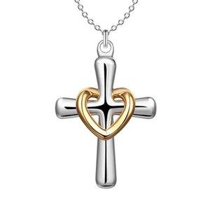 Venta caliente Níquel plomo libre plateado plateado latino cruz amor collar de corazón 1 mm joyería rolo mezclado venta al por mayor plata