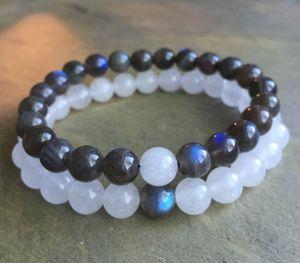 8mm Labradorite Pulseira, 8mm Branco Jade Pulseira, Pulseira De Contas De Pedras Preciosas Elastic Gemstone Bracelet, Presentes
