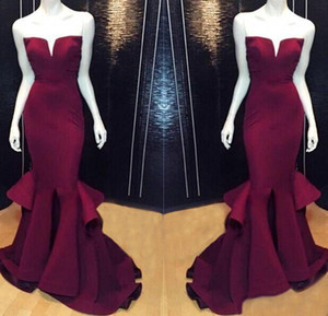 Burgundy Cheap Sexy 2019 Mermaid Prom Party Dresses Grape Formal Pageant Evening Dress Long Satin Plus Size Gowns Backless Sexy Real Images