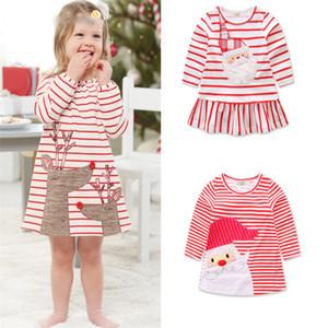 Baby girls Christmas venado Santa Claus dress cartoon Niños raya princesa vestidos Navidad niños traje de alta calidad