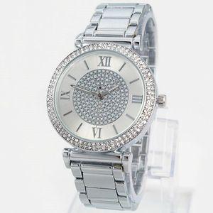 2019 Venta Caliente de Plata Reloj de Oro de Las Mujeres de Lujo Venta Caliente Relojes de Pulsera Regalos Para Niña Reloj de Cuarzo Rhinestone de Acero Inoxidable Completo