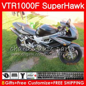 Cuerpo para HONDA VTR1000F SuperHawk top ALL Negro 97 98 99 00 01 02 03 04 05 91NO34 VTR 1000F 1997 1998 1999 2000 2002 2003 2004 2005 Carenado