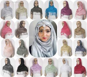 Venta al por mayor-PH020 (envío gratis) 43 colores 1PC / LOTE LADIES SHIMMER GLITTER SHINY MUSLIM HIJAB SCARF WRAP SHAWL STOLE BANDANA ISLAMIC WOMEN