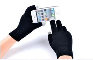Wholesale-2015 New Fashion Winter Unisex Men Women Touch Screen Stretchy Soft Warm Winter Wool Gloves Mittens for Mobile Phone Tablet Pad