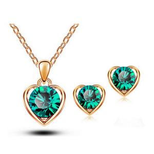 أحدث الأزياء 18 كيلو النمسا كريستال قلادة وأقراط مجموعات مجوهرات عالية الجودة القلب مجموعات للنساء أفضل المجوهرات 1331