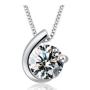 Mujer collares de plata crystal jewelry diamond colgante declaración de diamantes collares boda vintage encantos collares envío gratis