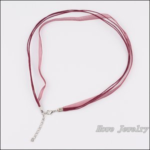 4Q 35 pcs Multicolor Organza Voile Ribbon Waxed Cotton Necklace Cords Lobster Clasp DIY Jewelry Accessory