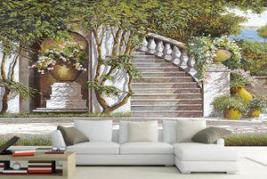 Duvarlar için 3d manzara duvar kağıdı Akdeniz bahçesi özelleştirilmiş duvar kağıdı