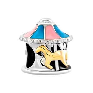 10 pcs por lote de equitação um merry-go-round talão de madeira cavalo Europeu espaçador charme fit Pandora Chamilia Biagi pulseira