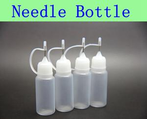50pcs MOQ Bottiglie di ago 10ml Bottiglia vuota per eGo Series Sigaretta elettronica E-cig Bottiglie di plastica con ago e contagocce