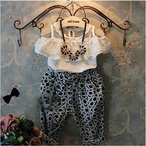 Girls Clothes Fashion Kids Summer Lace and Strapless Clothes Hot Children Geometric Printing and Loose Haroun Pants