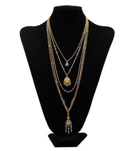 Collana lunga maglione antico nappa a più piani europea e americana Collana turchese oro e argento Lunghezza 45 ~ 76 cm