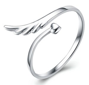 Silver Wing Rings Hot Sale Band Finger Ring For Women Girl Wedding Party Open Size Fashion Jewelry Wholesale Free Shipping 0104WH