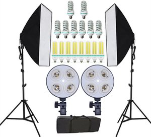 Freeshipping NOVITÀ Fotografia Studio fotografico Kit softbox di illuminazione continua Photo Equipment e Double 4 Portalampada Photo Studio Diffuser