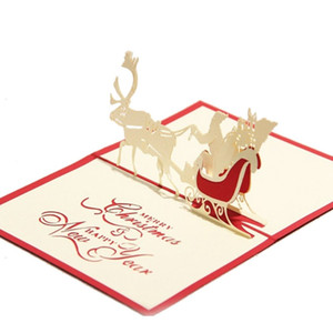 Free DHL Handmade Santa Ride Christmas Cards Creative Kirigami & Origami 3D Pop UP Greeting Card Postcards for Kids Friends