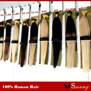 """XCSUNNY I Tip Fusion Hair Extensions 18"""" 20"""" Extensions cheveux naturels Kératine 1 g / s 100 g / pc Bâton Indien Remy Extension de cheveux humains"""