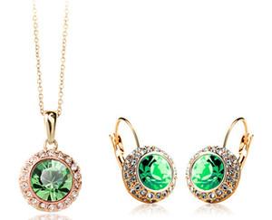 Moda 2014 sistemas de la joyería Pendientes de cristal New exclusivo temperamento semicircular austriaca collar para las mujeres de 18 quilates chapado en oro