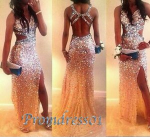 Sexy Open Back Side Slit Sparkly Long Formal Prom Dress for Teens Mermaid Special Occasion Dresses For Party Gowns 2020 New Style