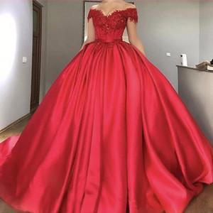 De l'épaule exposée désosser rouge Princesse robe de bal robe de bal robe en dentelle robe de soirée fille appliques noire robe de bal