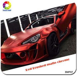 2016 Top-qualität 1,52 * 20 mt Gebürstet Matt Chrome Red Car Wrap Vinyl Schutzhülle für Auto Dekoration Aufkleber