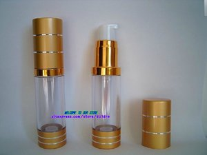 15ml plastic gold Empty Cosmetic Cream Emulsion Bottle Lotion Essence Packaging Airless Pump Bottles Free shipping