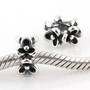 Serve para pandora encantos pulseira autêntica 925 sterling silver trevo do grânulo original padrão de flor parafuso charme jóias diy achados