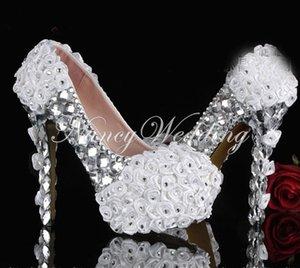 الزهور البيضاء مع بلورات الفضة الراين عالية الكعب أحذية الزفاف الزفاف حفل التخرج حفلة موسيقية الأحذية