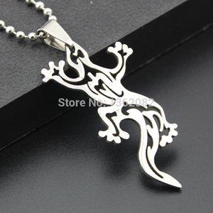 Мода мальчик мужские ювелирные изделия серебряный тон нержавеющей стали полые дизайн ящерица Шарм ожерелье подарок MN293