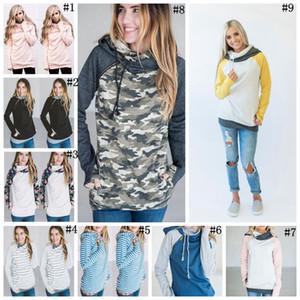 Mujeres Dedo Hoodie Impresión Digital Abrigos Cremallera Lace Up Manga Larga Pullover Blusas de Invierno Sudaderas Con Capucha Outwear 120 unids OOA3396