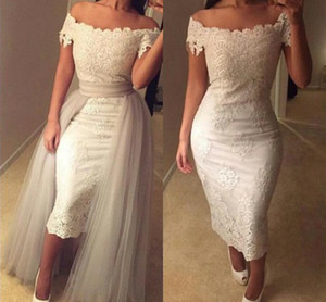 Off-shoulder Lace Tea-Length Wedding Dresses Appliques Sheath Bodycon Bridal Dresses with Silver Overskirts Ruffles Vintage Wedding Gowns