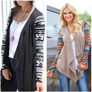 Femmes Mode pull en tricot Cardigan à imprimé ethnique à manches longues irrégulière Casual Manteau en maille d'ouverture Outwear Liquidation Cadeaux WY4003