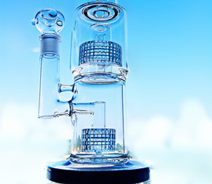 With Banger Bowl Triple Honeycomb Perc Bong Recycler 16 Inches Hand Dab Rigs Hookah 3 Colors Oil Rigs Glass Water Bongs Pipes