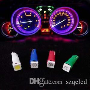 500 pcs / lot Livraison gratuite + en gros + Voiture Led Lumière Blanc Rouge Vert Bleu Jaune T5 5050 1SMD Auto Wedge Base pour Dashboard Ampoule