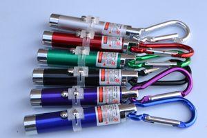 En iyi tatil Carabiner Halka Keyrings Mini Fener Kırmızı Lazer Pointer ile 3 in1 LED Mini Fener Alüminyum Alaşım Meşale ışıkları